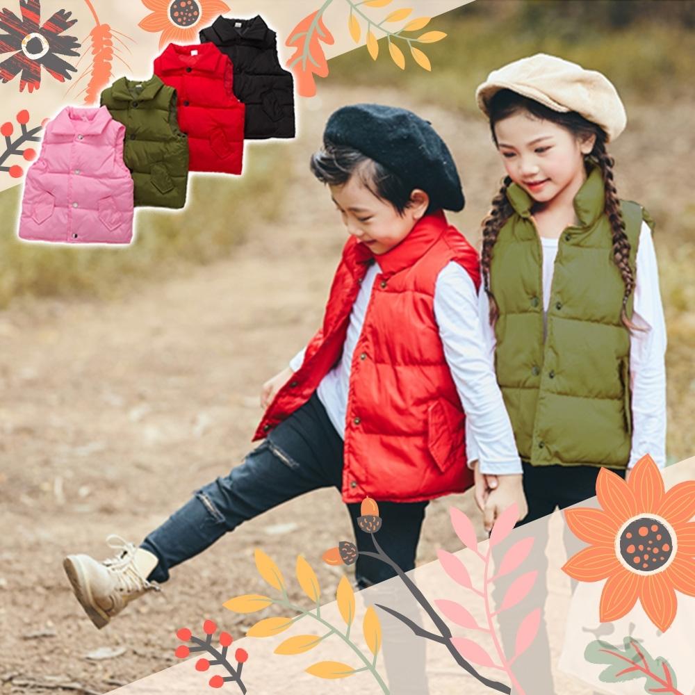 【Incare】兒童羽絨綿立領保暖背心100-140cm(4色任選)