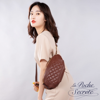 La Poche Secrete胸腰包 簡約真皮口袋格紋胸腰包-魅力紅
