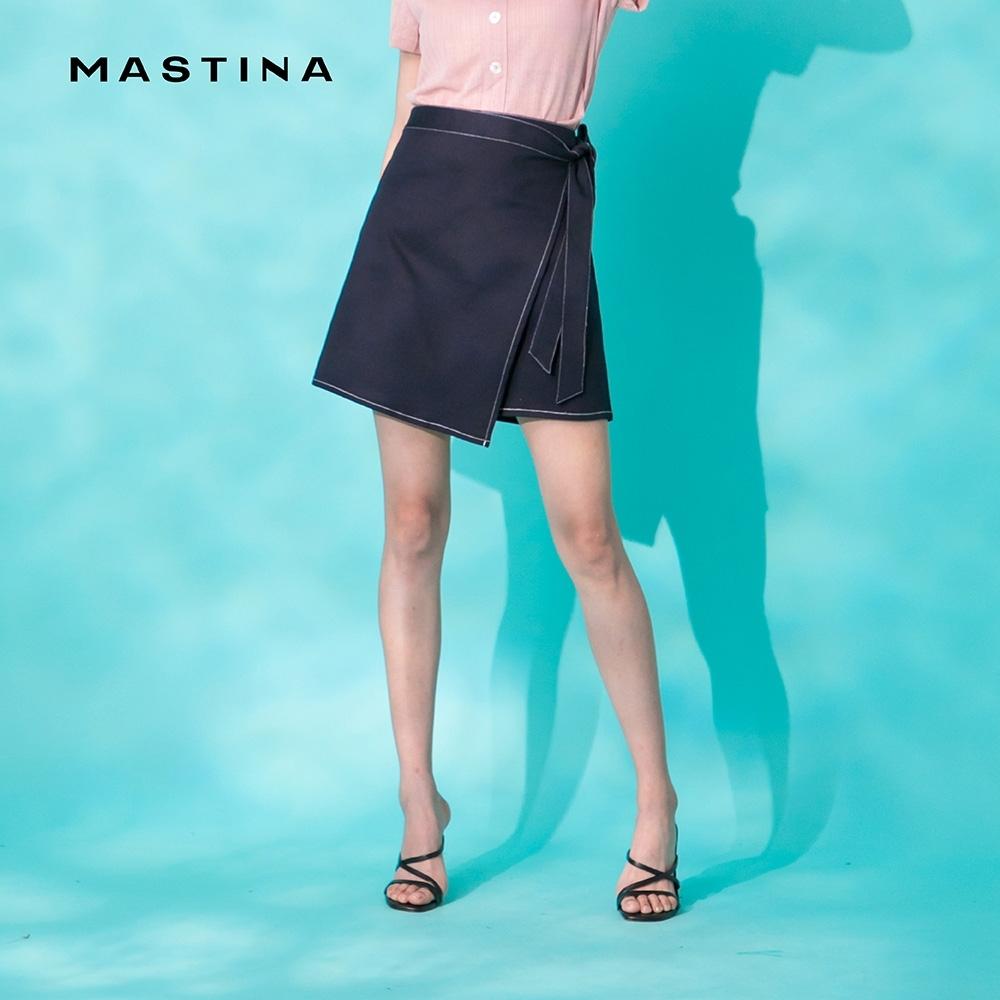 【MASTINA】率性綁帶剪裁-短裙(深藍色)