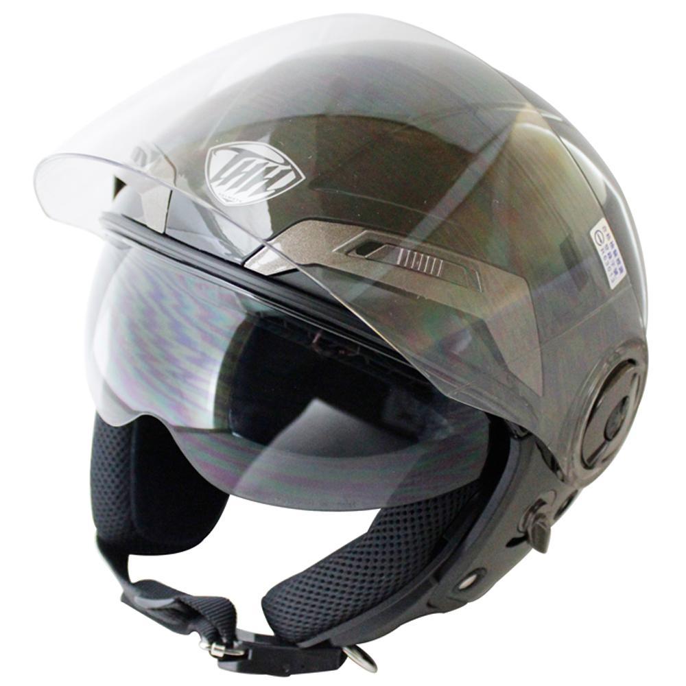 THH勇氣可掀式雙鏡片半罩安全帽T314A-黑白+免洗內襯套6入-快