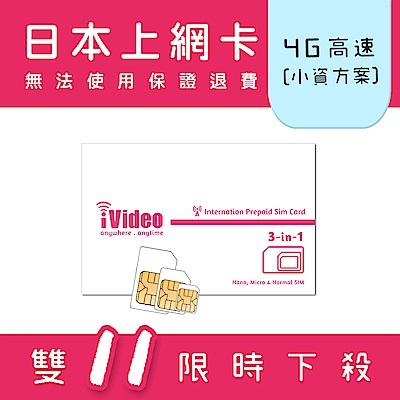 iVideo日本上網卡 SIM卡 30天 吃到飽 【小資方案】