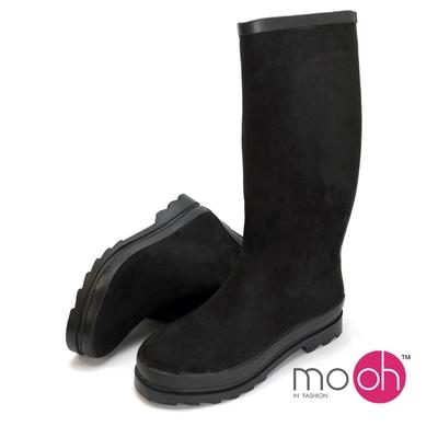 mo.oh 愛雨天-長筒雨鞋可折疊拉鍊絨面雨靴 黑