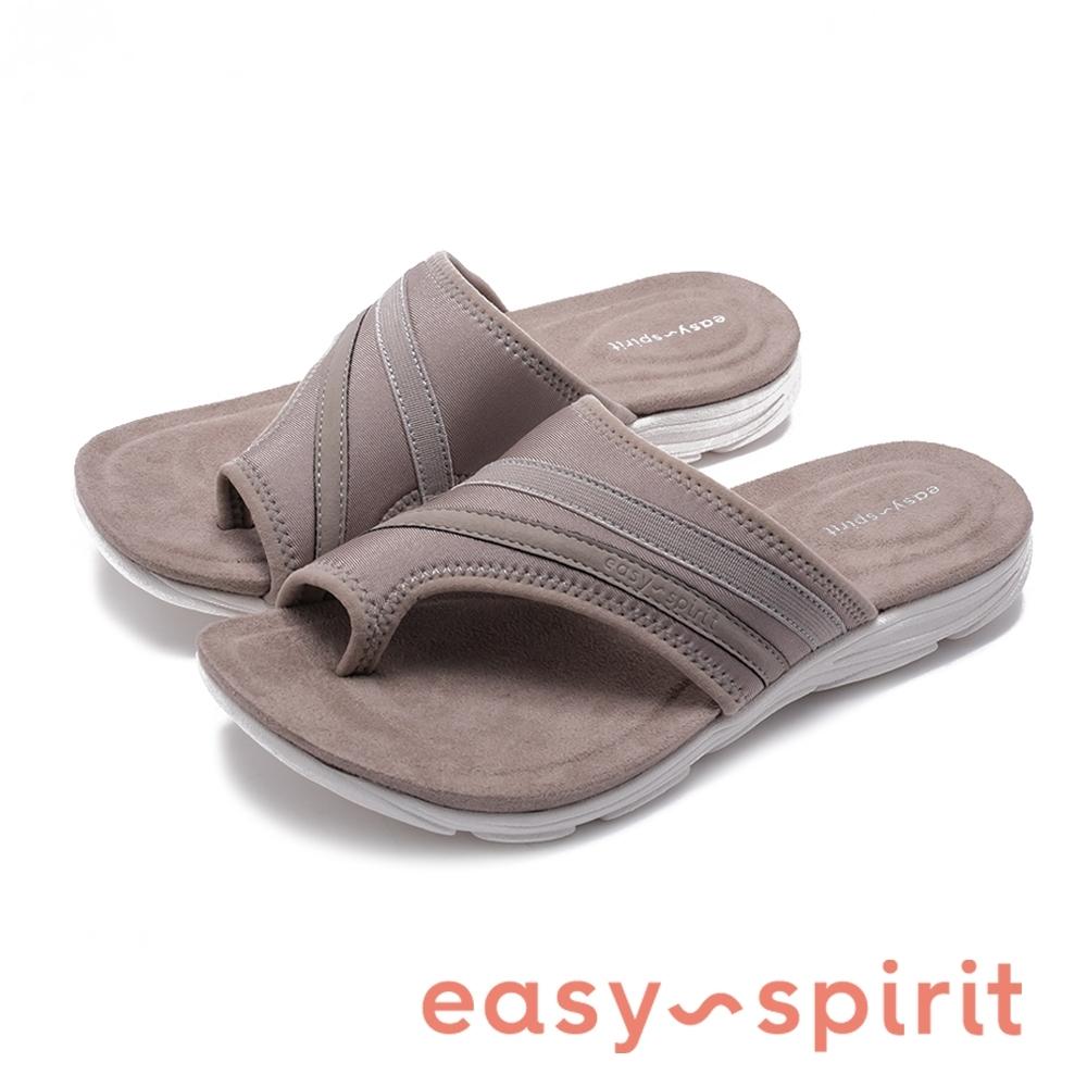 Easy Spirit seLOLA2 行走舒適 拼接布面夾腳拖鞋-卡其棕