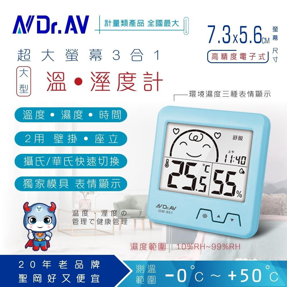 【N Dr.AV聖岡科技】GM-851 日式超大螢幕溫濕度計(兩色任選)