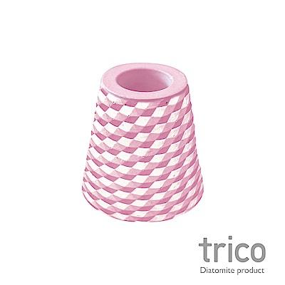 TRICO 菱格珪藻土牙刷架-粉紅