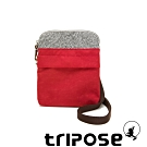 tripose 漫遊系列 岩紋x微皺尼龍護照斜背包 石榴紅