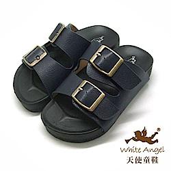 天使童鞋 防水復古雙銅扣拖鞋(中-大童)855-藍