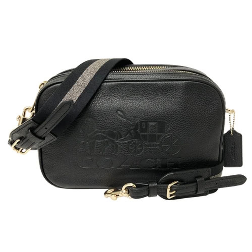 COACH 新款大馬車雙拉鍊斜背包相機包(時尚黑)