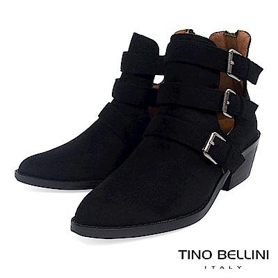 Tino Bellini 雙側鏤空多重釦帶中跟短靴 _ 黑