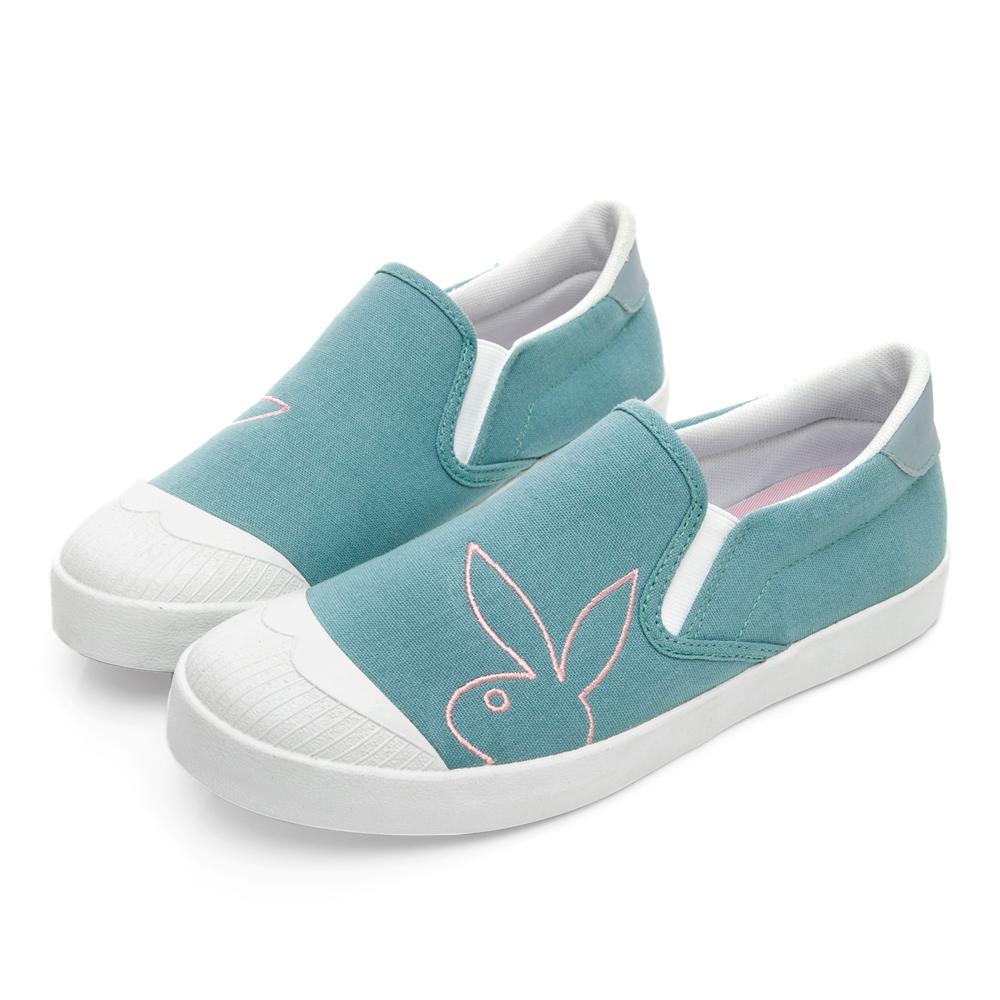 PLAYBOY 清新電繡兔頭懶人鞋-淺藍-Y7201I9