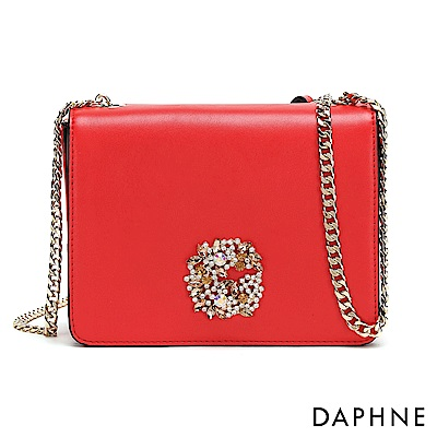 達芙妮DAPHNE-水鑽花飾鏈帶小方包-紅