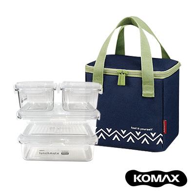 韓國KOMAX 戶外野餐保鮮盒四件組(附提袋)-藍