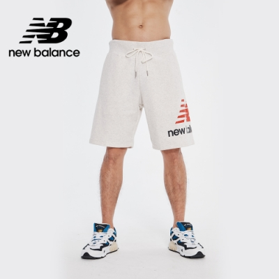 New Balance 褲口大Logo撞色短褲_男性_米白_AMS01512SAH