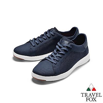 TRAVEL FOX(女) 輕雲系列  針織布面輕量抗菌都會運動鞋 - 深藍