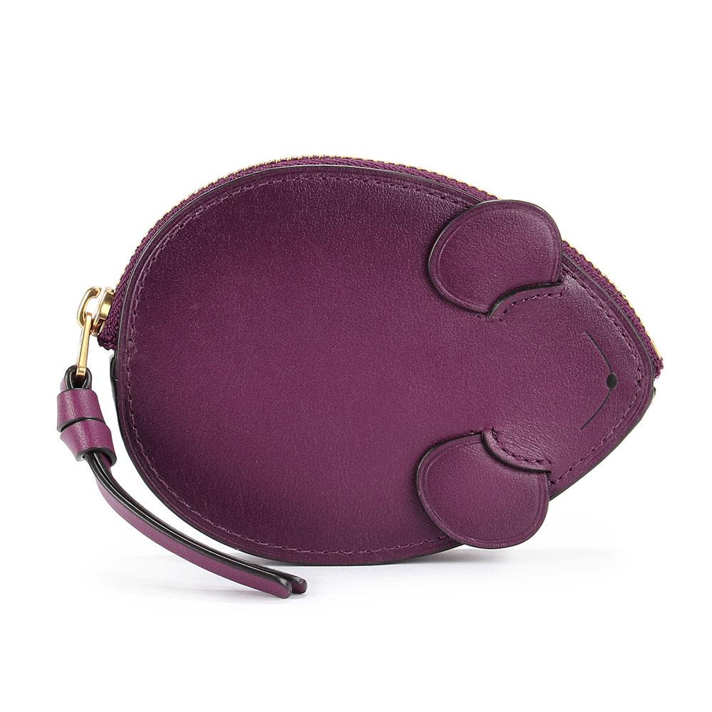 COACH 可愛小老鼠造型皮革零錢/鑰匙包-莓紫色COACH