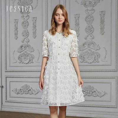 JESSICA - 氣質雙層蕾絲收腰透膚短袖洋裝(白)