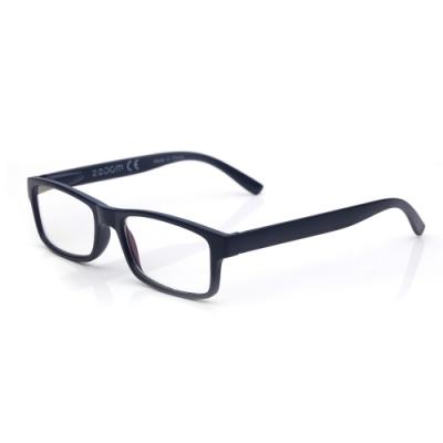 【 Z·ZOOM 】老花眼鏡/平光眼鏡 抗藍光防護系列 時尚矩形粗框款(鐵灰藍)