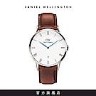 DW 手錶 官方旗艦店 38mm銀框 Dapper 紅棕真皮皮革
