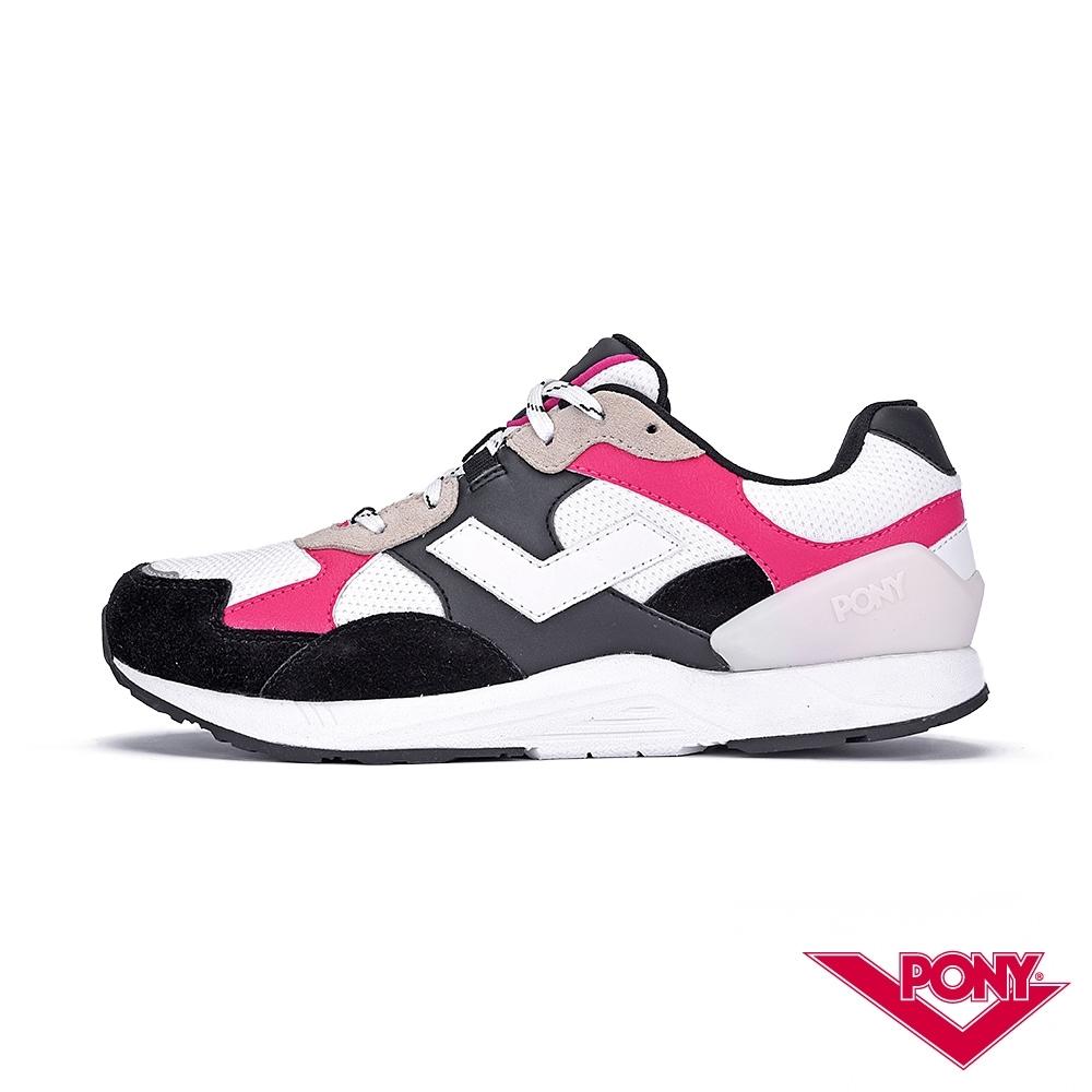 【PONY】BOUNCE系列-復古運動鞋 厚底老爹鞋 潮流 球鞋 女 白底黑紅