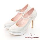 【CUMAR】優雅化身 水鑽復古法式瑪莉珍高跟鞋-銀