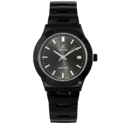 SIGMA 簡約藍寶石時尚手錶男錶-黑/37mm