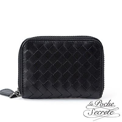 La Poche Secrete 編織小羊皮拉鍊卡夾包-百搭黑