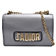 Dior 經典J'adior系列小牛皮復古金色金屬J'adior標誌手拿/斜背包(灰) product thumbnail 1