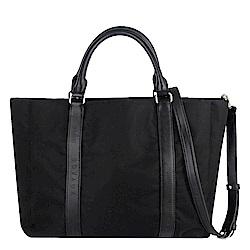 agnes b. voyage 黑色尼龍皮革提把三隔層方形肩背/手提包