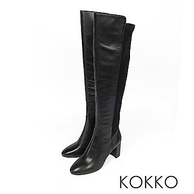 KOKKO  - 超顯瘦拼接貼腿過膝長靴-亮面黑
