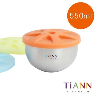 TiANN 鈦安純鈦餐具 550ml 純鈦雙層碗 含矽膠防漏蓋