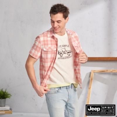 JEEP 雙口袋造型格紋短袖襯衫-橘紅