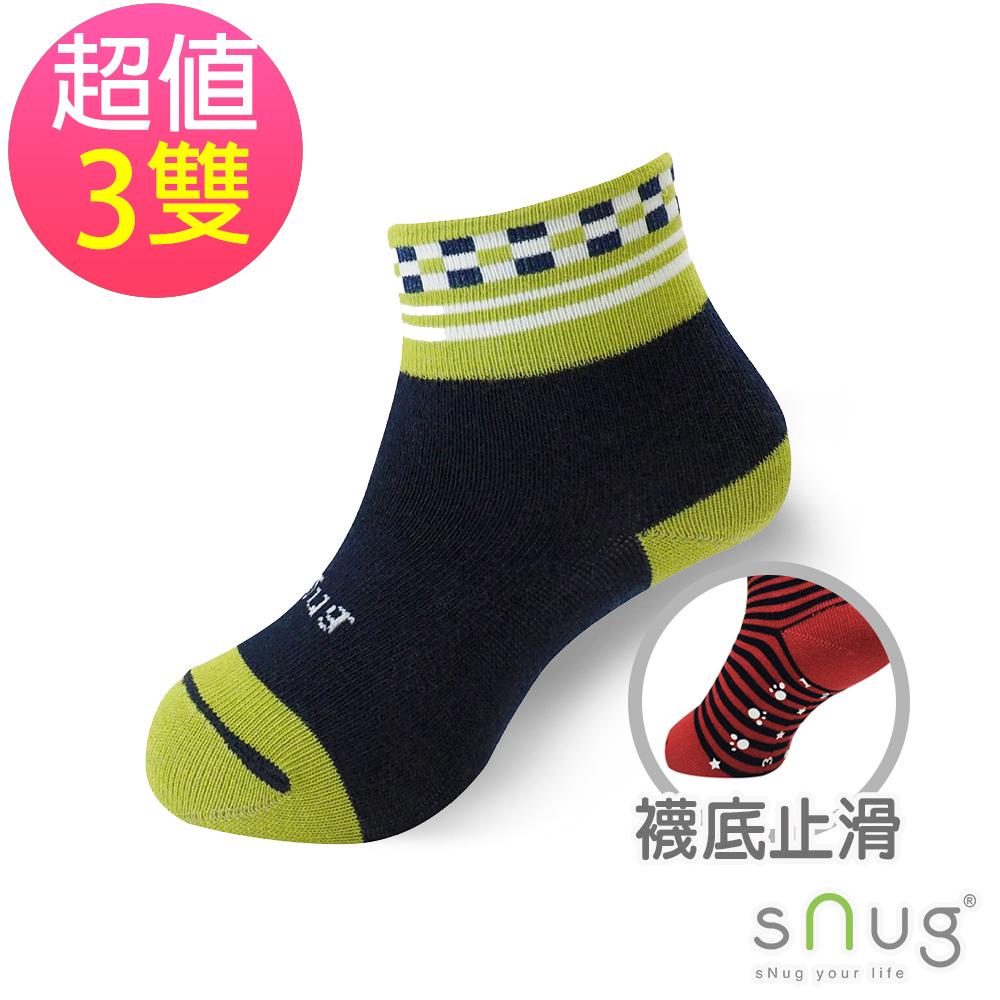 SNUG 可愛舒適無痕止滑除臭童襪-方塊綠(3入組)