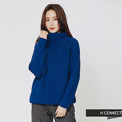 H:CONNECT 韓國品牌 女裝-翻領坑條針織上衣-藍