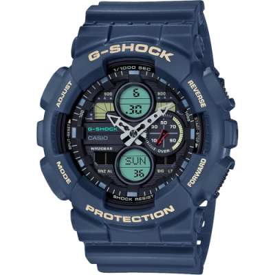 CASIO 卡西歐 G-SHOCK 90年代音響概念手錶-土耳其藍(GA-140-2A)