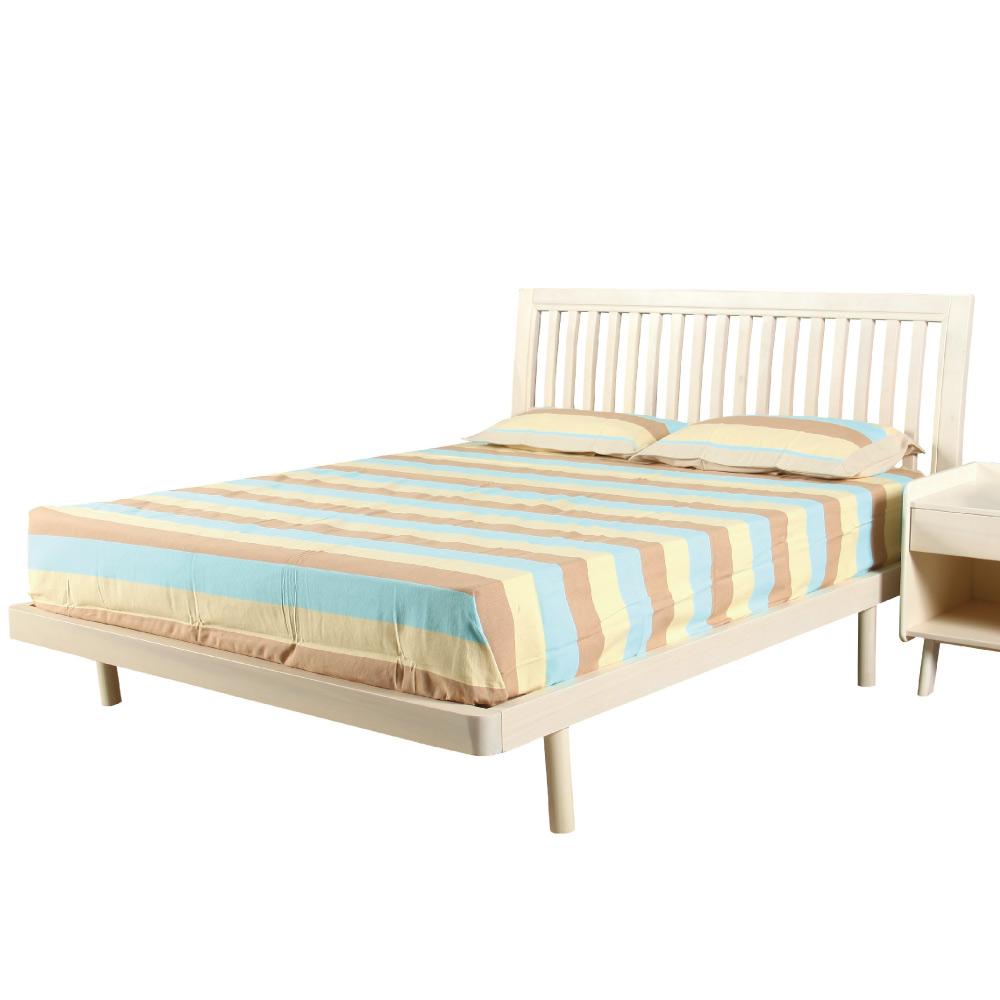 文創集 凱文時尚5尺實木雙人床架(不含床墊)-160x200x100cm免組