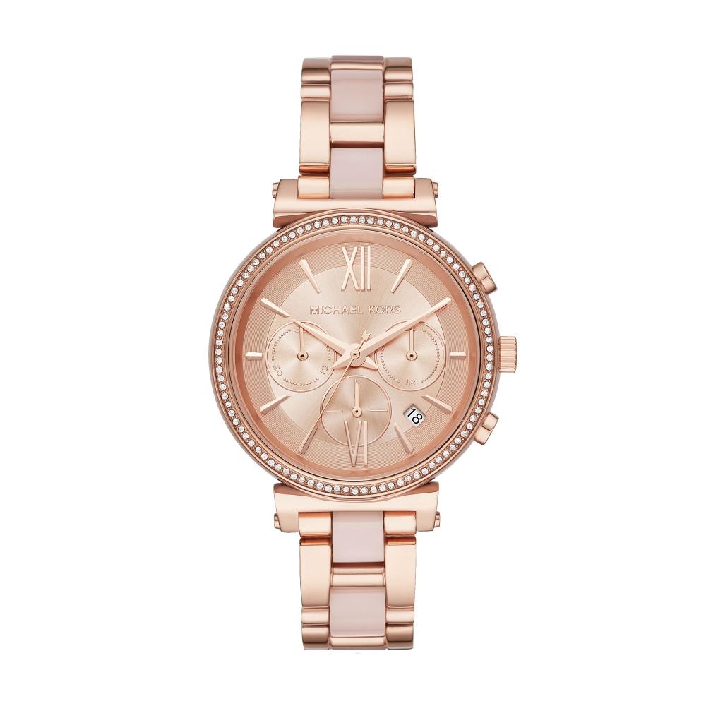 MICHAEL KORS美式情緣三眼計時玫瑰金時尚腕錶/MK6560