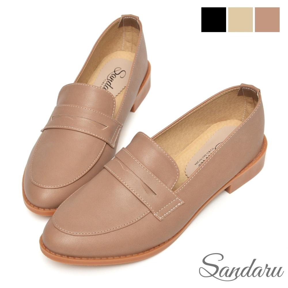山打努SANDARU-紳士鞋 經典微尖頭低跟便仕樂福鞋-可可