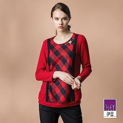 ILEY伊蕾 格紋緹花裝飾刷毛上衣(紅)
