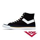 【PONY】Shooter系列 格紋配色高筒帆布鞋 休閒鞋 男鞋 黑
