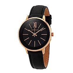 Anne Klein 戀人的讚嘆小牛皮腕錶-黑色x37mm AK-3252RGBK