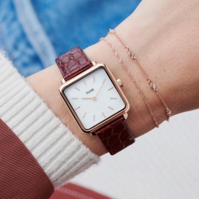 CLUSE La Tetragone系列腕錶(玫瑰金框/白錶面/鱷魚紋皮錶帶)28.5mm