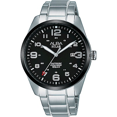 ALBA 雅柏 城市情人太陽能時尚手錶(AX3005X1)-黑x銀/39mm