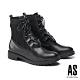 短靴 AS 帥氣個性綁帶異材質拼接短靴-黑 product thumbnail 1
