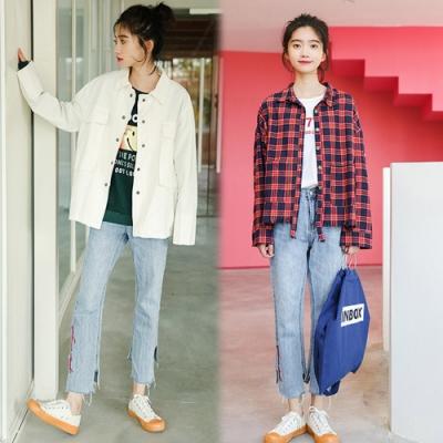 【韓國K.W.】(預購)韓時尚高腰顯瘦牛仔褲-1色