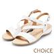 CHOiCE 細緻牛皮斜帶造型厚底涼鞋 白色 product thumbnail 1