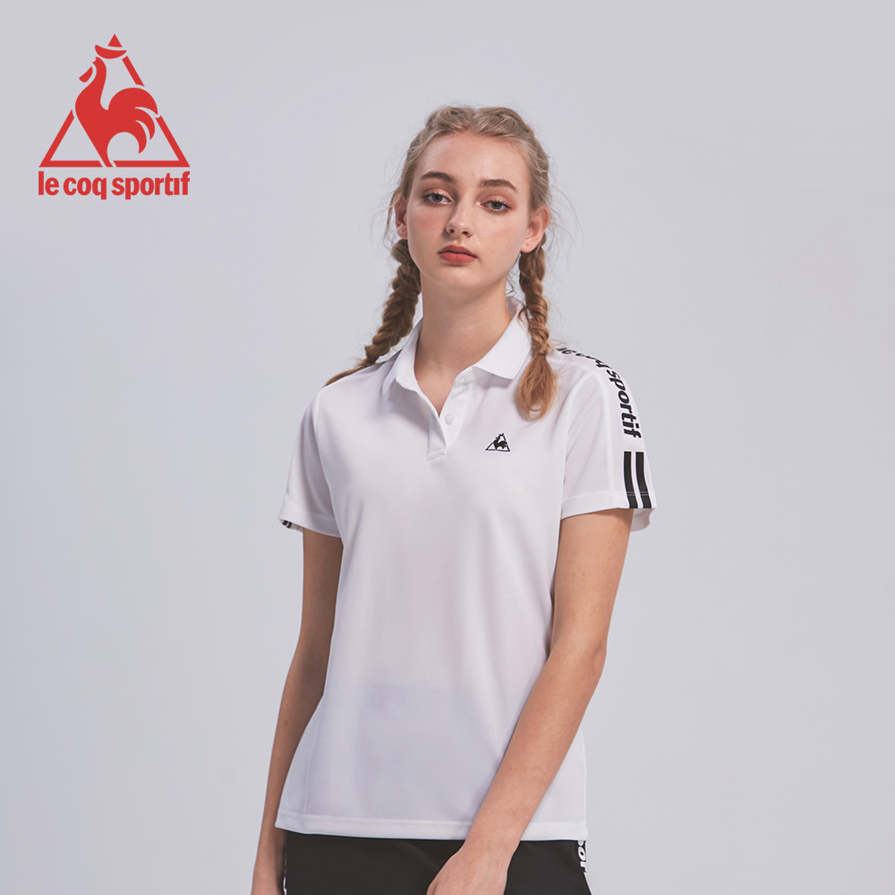 le coq sportif 法國公雞牌吸濕排汗肩條紋印花短袖POLO衫 女-白