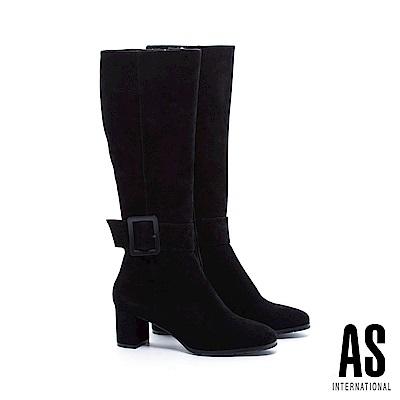 長靴 AS 時髦前衛方型大帶扣全真皮高跟長靴-黑