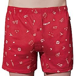 SOLIS 點子王系列M-XXL印花寬鬆四角男褲(袍紅色)