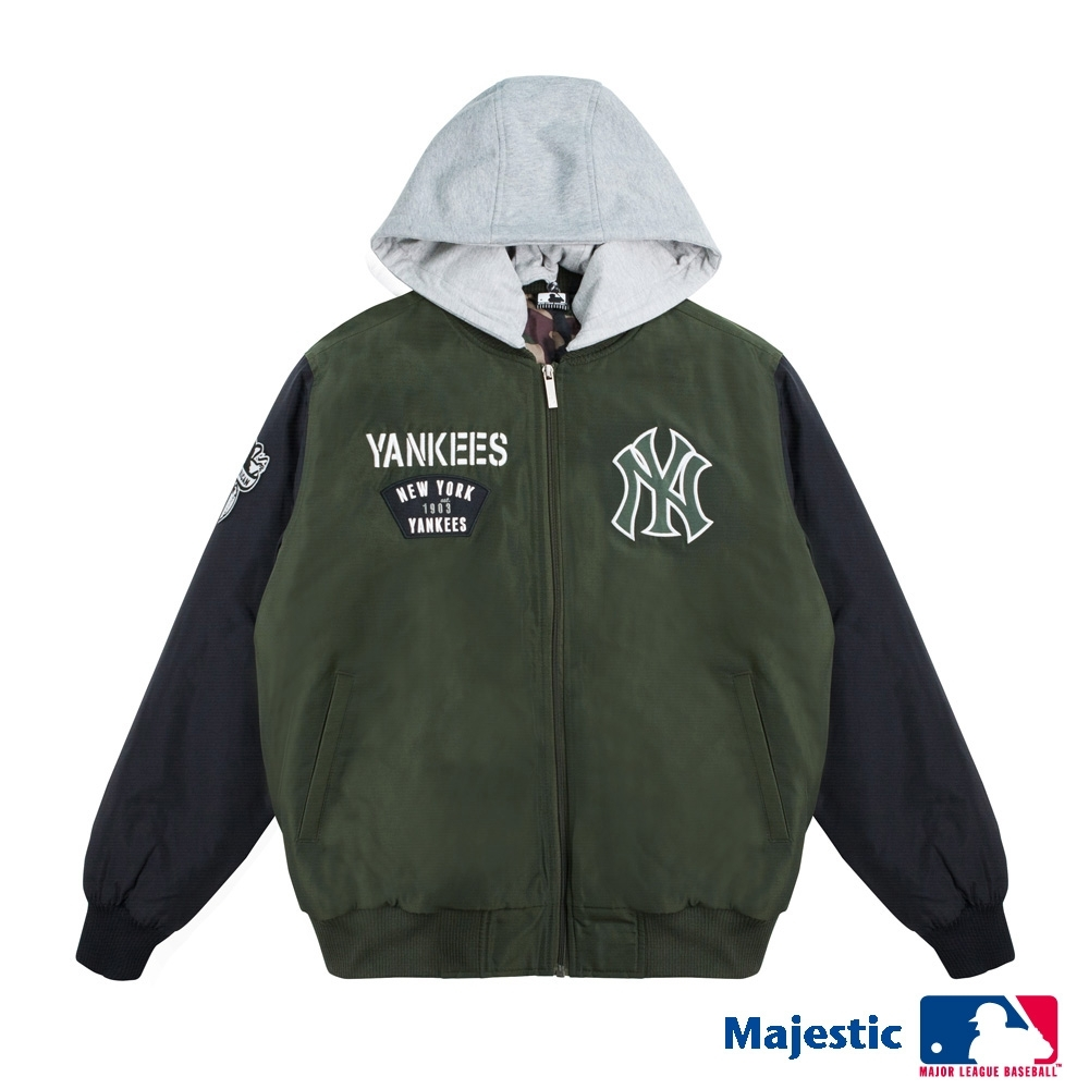 MLB-洋基進擊可拆式連帽外套-深綠 (男)