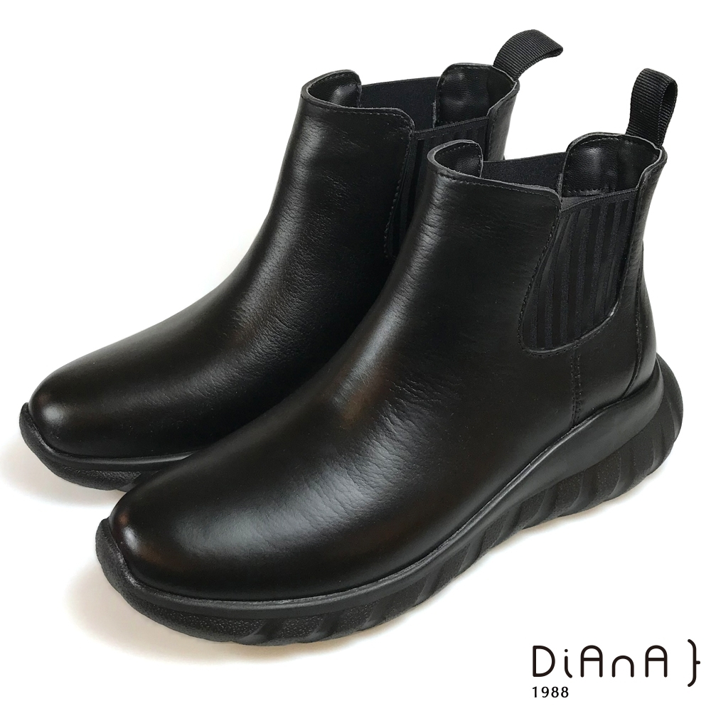DIANA 晴雨2用側鬆短筒雨靴-率性時尚-黑